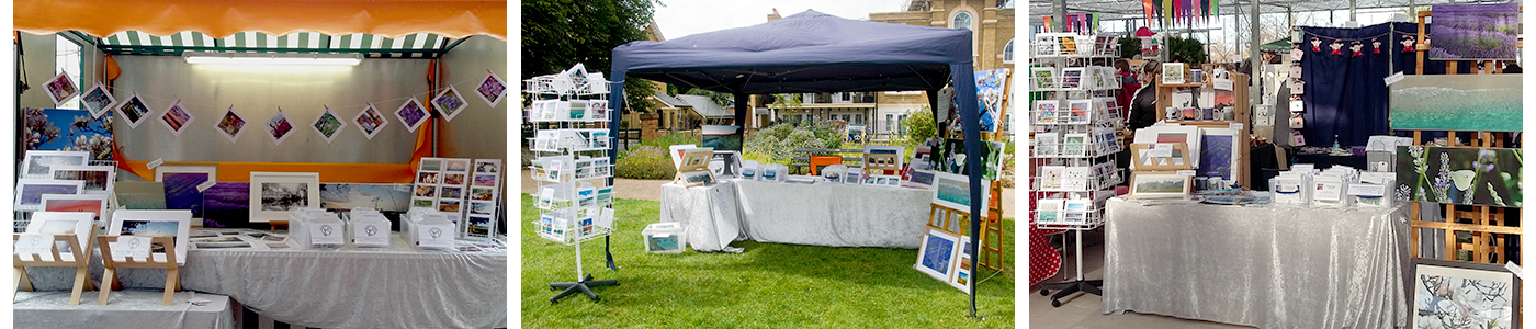 three photos of Jane Mucklow Photography's stall at Sevenoaks Market, a Farmer's Market, and a craft fair