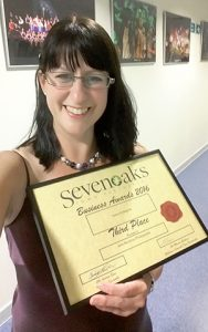 Jane Mucklow Photography with certificate at the Sevenoaks Business Awards 2016