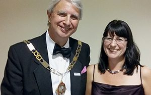 Jane Mucklow and Andrew Eyre, Mayor of Sevenoaks at the Sevenoaks Business Awards 2016