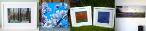 Examples of framed prints and canvas prints by Jane Mucklow Photography, including lavender, magnolia, poppies.