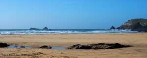 View across the sand of Constantine Bay, Cornwall, by Jane Mucklow Photography