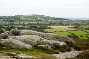 View from Carn Brea monument towards Redruth, Cornwall, by Jane Mucklow Photography
