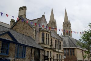 Photograph of Truro Cathedral and shops, Cornwall, by Jane Mucklow