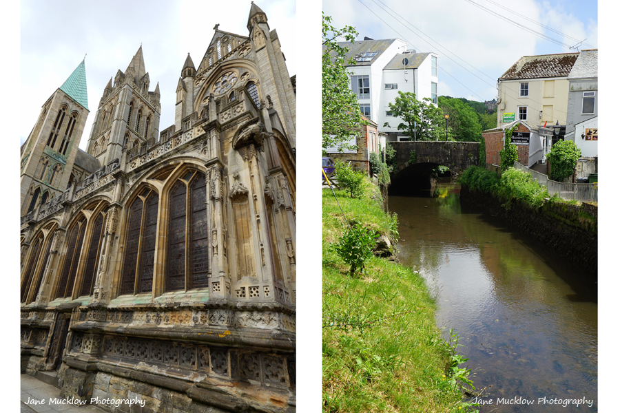 Two photos of Truro, Cornwall - the Cathedral and the river, by Jane Mucklow
