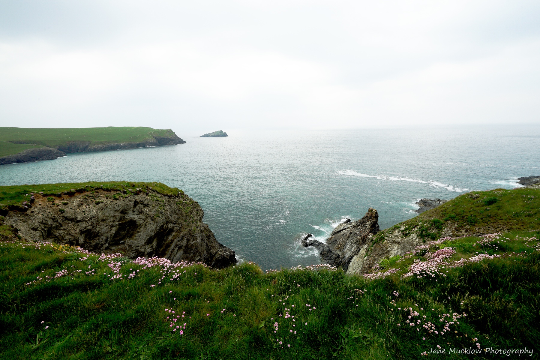 Photograph of the cliffs and sea from between Porth Joke and Crantock, Cornwall, by Jane Mucklow