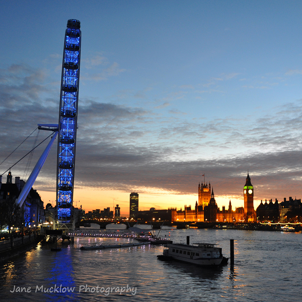 Westminster and the London Eye, sunset colours in the sky, photo by Jane Mucklow Photography