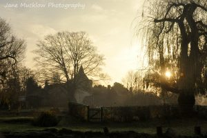 Sun rising through the willow tree at Otford duck pond, St. Bart's beyond the pond, photo by Jane Mucklow Photography