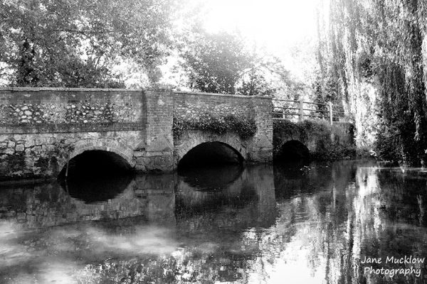 Black and white photograph of the bridge over the river Darenth in Shoreham, Kent, by Jane Mucklow