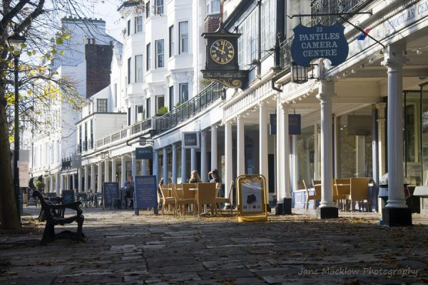 View along the Pantiles, showing the curve of the pillars, colour photo by Jane Mucklow Photography