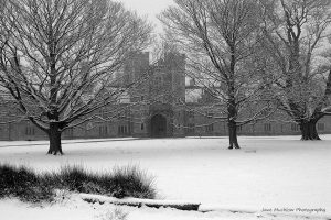Black and white photograph of Knole House, Sevenoaks, in the snow, by Jane Mucklow