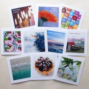 Birthday Card Collection - set of ten mixed photographs on greetings cards, by Jane Mucklow
