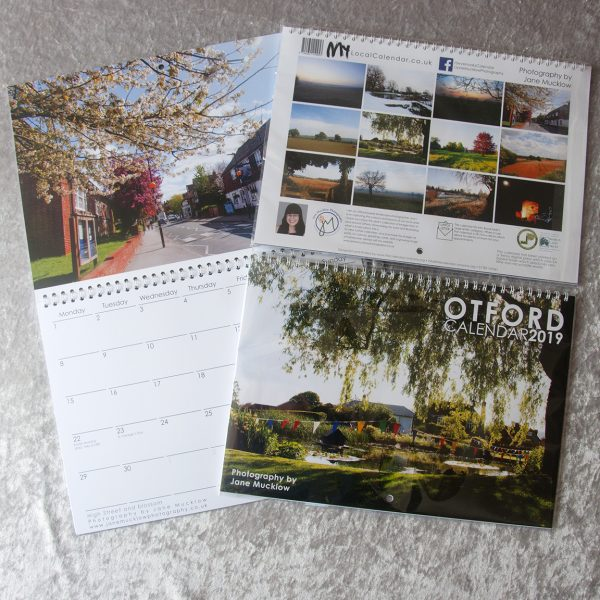 Cover and example page of the Otford 2019 Calendar by Jane Mucklow