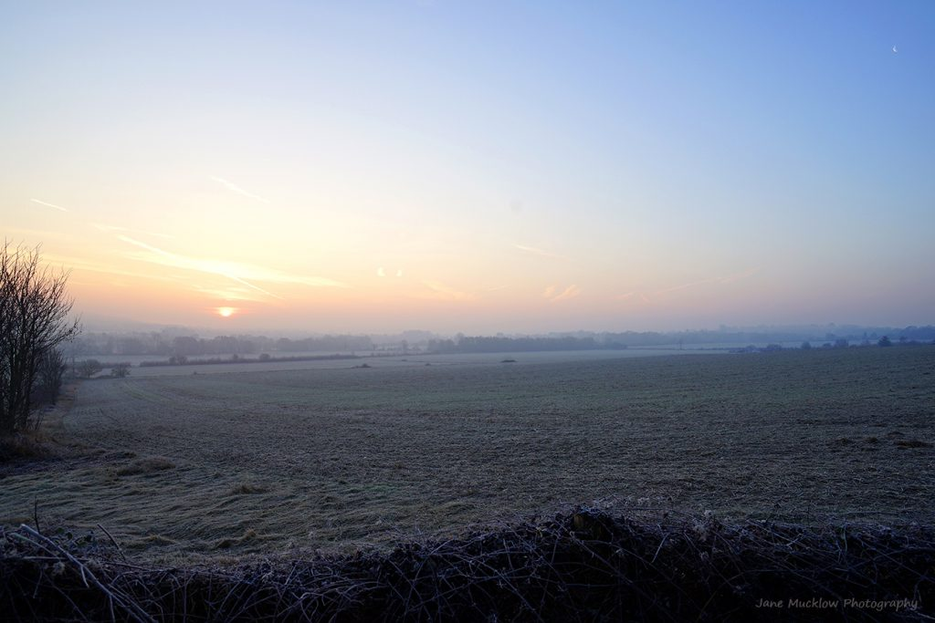 Photograph of a frosty morning sunrise over Otford, by Jane Mucklow