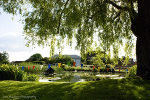 Photograph of Otford Duck Pond, with summer bunting, by Jane Mucklow