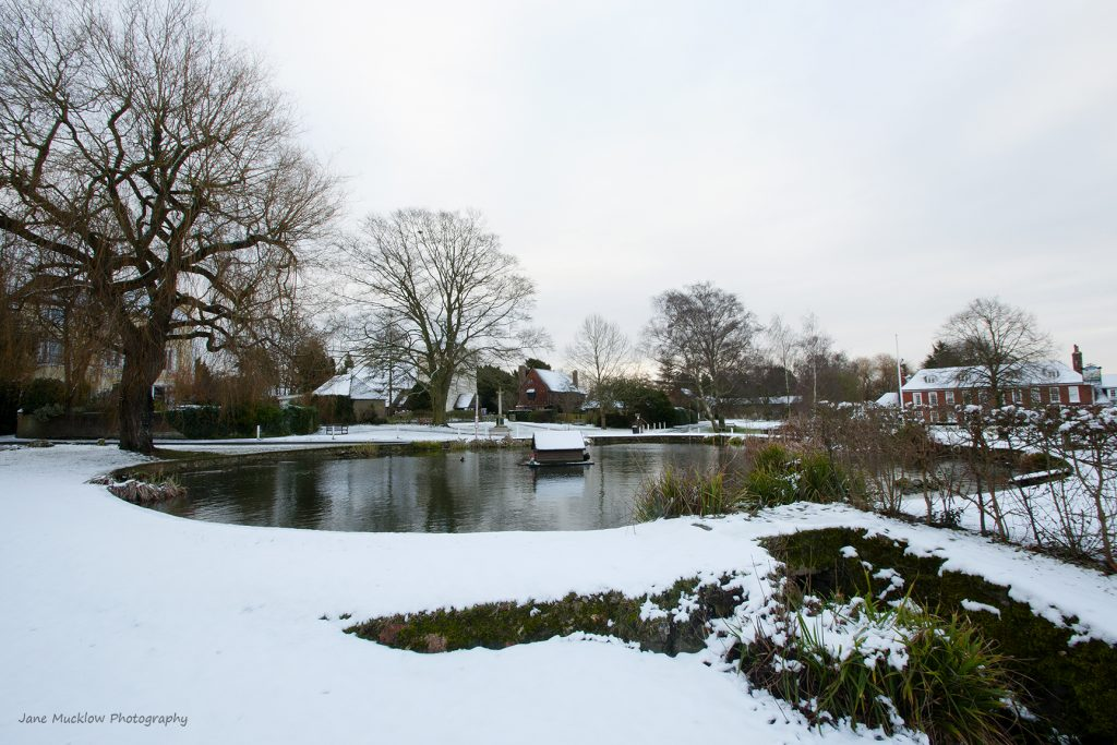 Photograph of Otford Pond in the snow, by Jane Mucklow