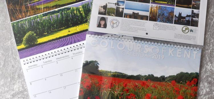 Cover and example page of the Colours of Kent 2019 Calendar by Jane Mucklow