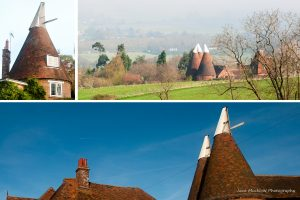 Montage of photographs of Kent Oast houses, for January in Colours of Kent 2019 Calendar by Jane Mucklow Photography
