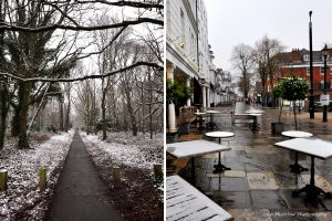 Montage of photographs of Tunbridge Wells in the snow, for February in Colours of Kent 2019 Calendar by Jane Mucklow Photography