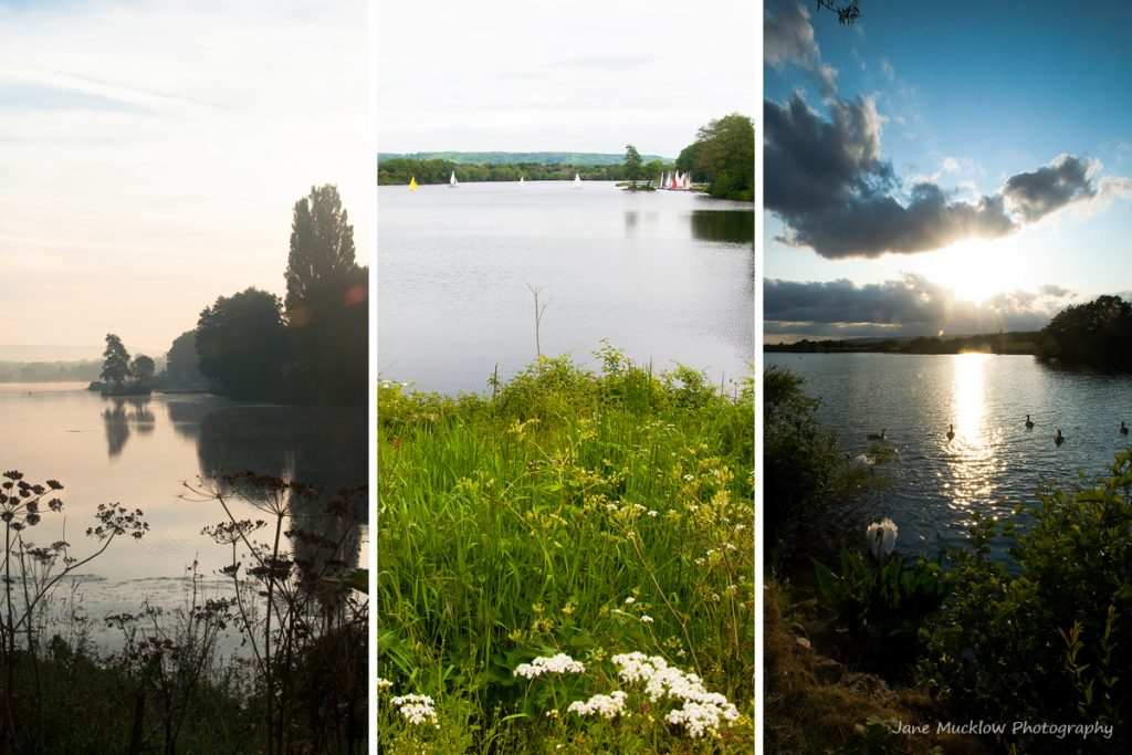 Montage of photographs of Chipstead Lake, Sevenoaks for September in the Colours of Kent 2019 Calendar by Jane Mucklow Photography