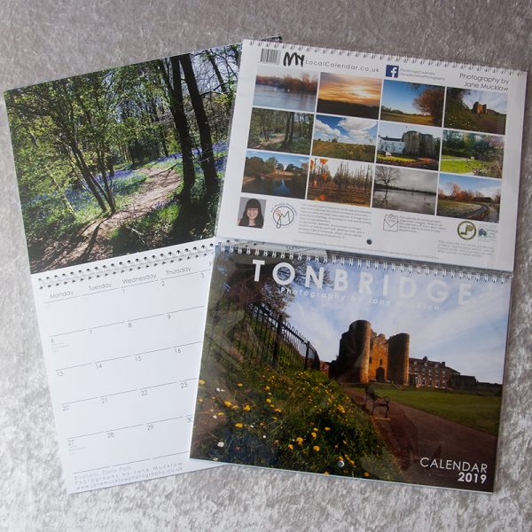 Covers and inside example page of Tonbridge 2019 Calendar by Jane Mucklow Photography