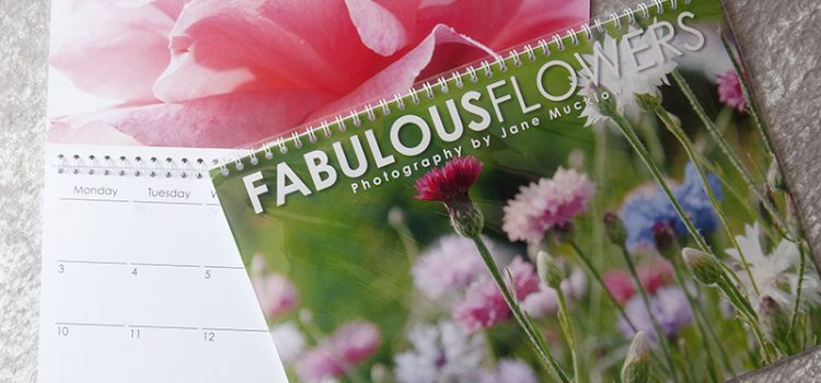 Cover and inside example page of Fabulous Flowers 2019 Calendar by Jane Mucklow Photography