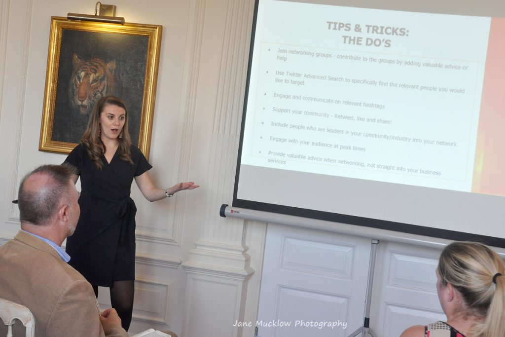 Photo of Molly Wright's talk at the Networkers Networking event at Port Lympne, by Jane Mucklow