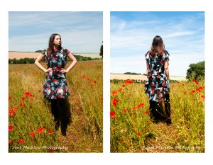 Two photos of a dress by Caroline Bruce Designer Dresses, by Jane Mucklow