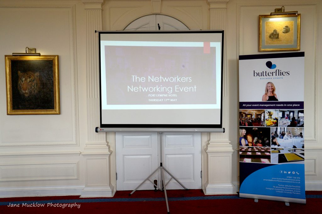 Photo of the screen and banner for Butterflies Business Events at the Networkers Networking event at Port Lympne, by Jane Mucklow