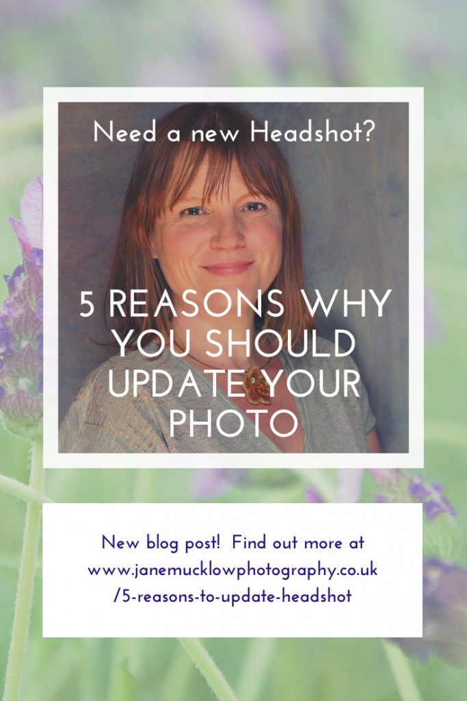 Pinterest post image, photo of a headshot by Jane Mucklow