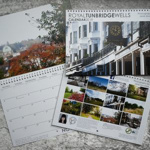 Photograph of the front and inside example of the Tunbridge Wells 2019 calendar by Jane Mucklow