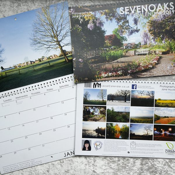 Photograph of the front and inside example of the Sevenoaks 2019 calendar by Jane Mucklow