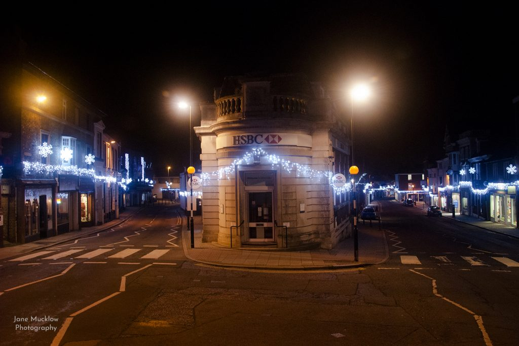 Photograph of the Christmas lights at the top of Sevenoaks, by Jane Mucklow