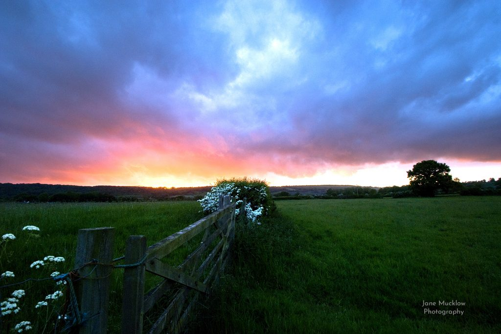 Sunset view towards Polhill and Shoreham from Otford, photo by Jane Mucklow