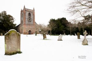 Shoreham Church in the snow, photograph by Jane Mucklow
