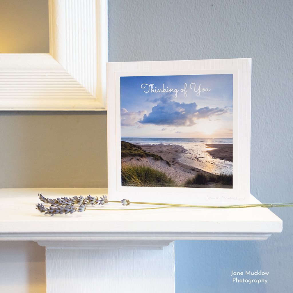 Greetings card with a photo of a sunset at Croyde, Devon by Jane Mucklow