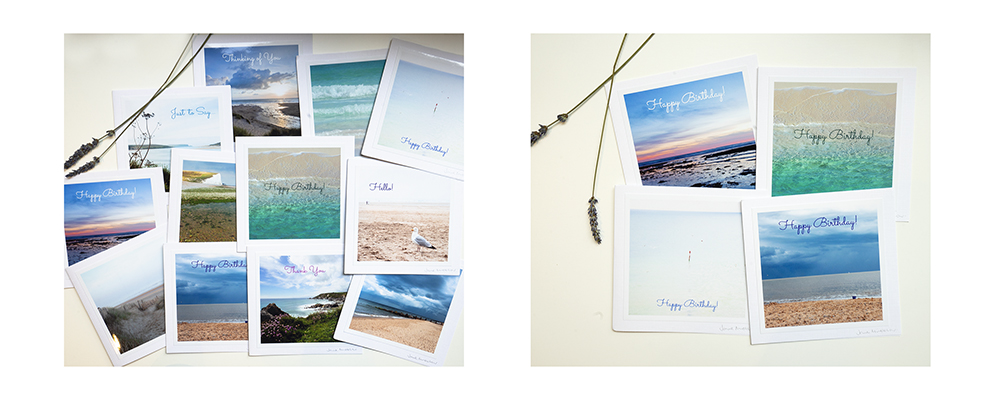 Photo of Sea greetings cards by Jane Mucklow, examples of greetings cards in the Gorgeous Greetings Card Club