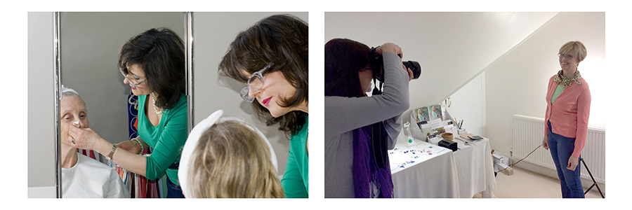 Photo of Amanda doing makeup and Jane photographing a client during a Capturing Confidence With Colour service