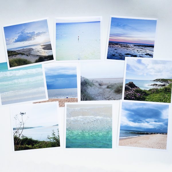 Photo of ten photographs of the sea, by Jane Mucklow; collection of ten sea greetings cards