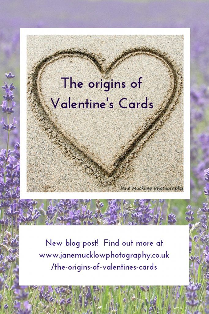 Pinterest post image for blog on Valentine's cards, with a photo of a sand heart by Jane Mucklow