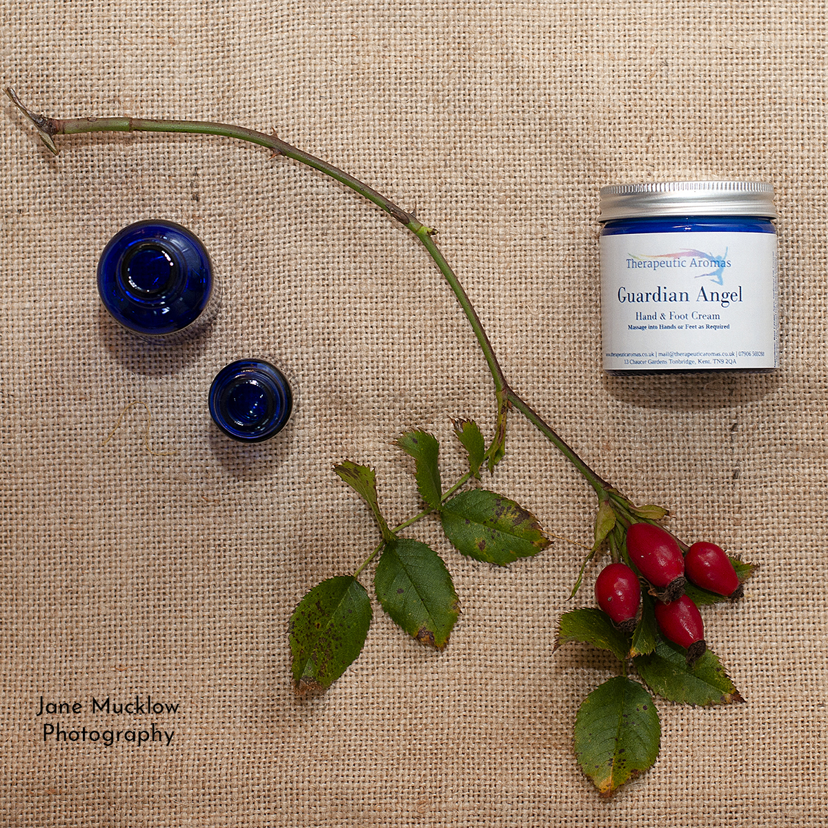 Photograph by Jane Mucklow of a cream product by Therapeutic Aromas
