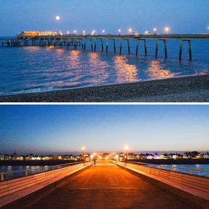 Photos of Deal Pier at night, by Jane Mucklow