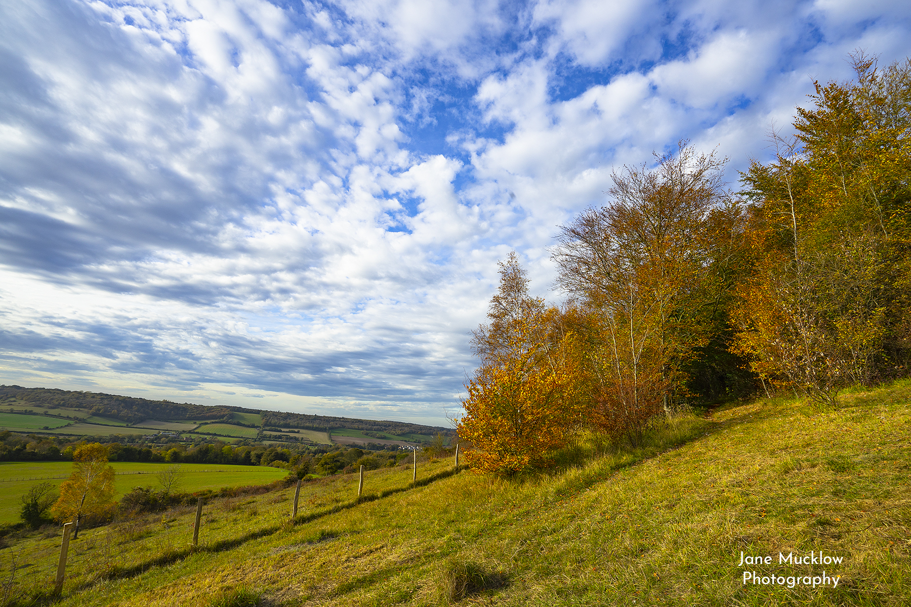 Photo of an Autumn view from Otford hills towards Shoreham, by Jane Mucklow