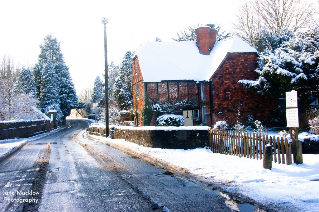 Photo of the Otford high street in the snow, by Jane Mucklow