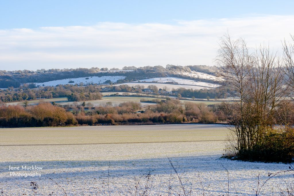 Photo of snow on the Otford hills, by Jane Mucklow