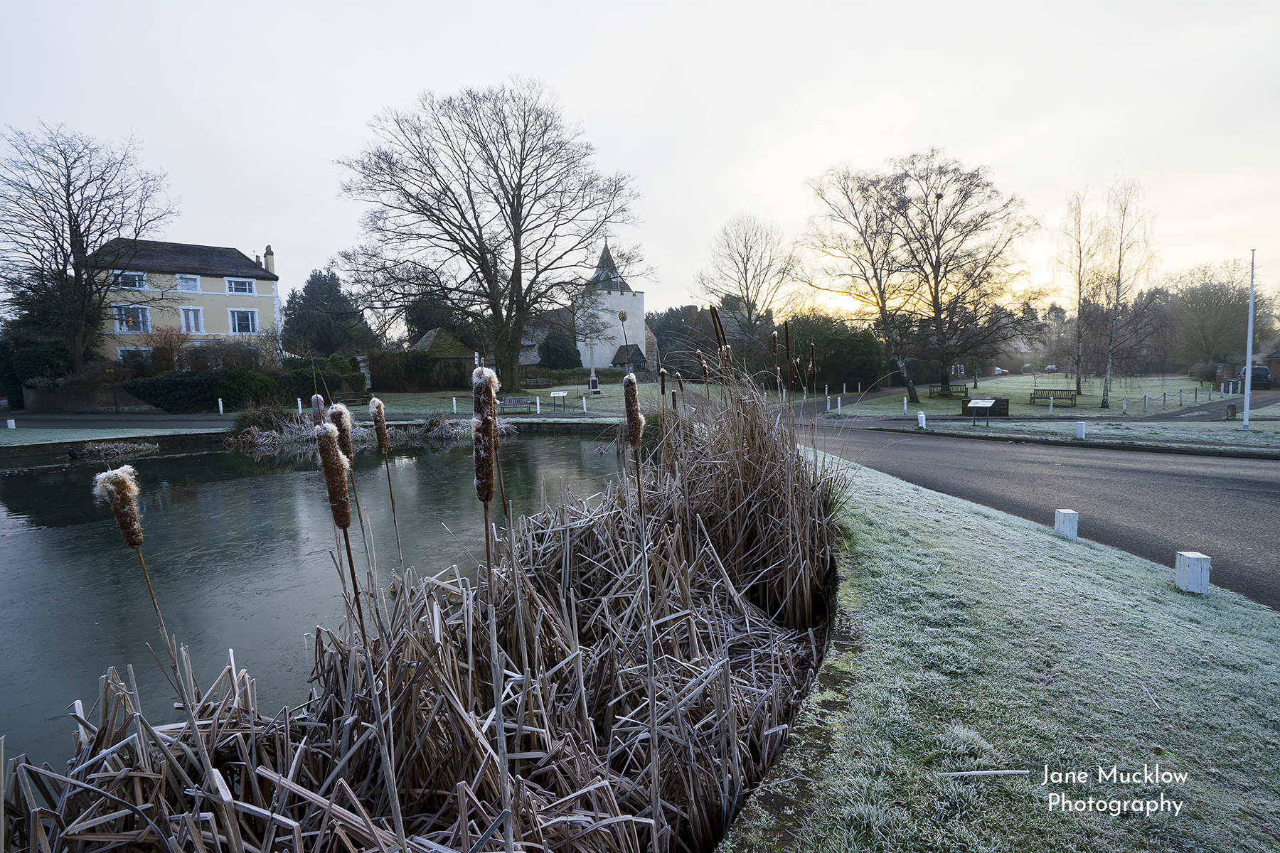 Photo of a frosty sunrise over Otford pond and St. Bart's church, Otford, by Jane Mucklow