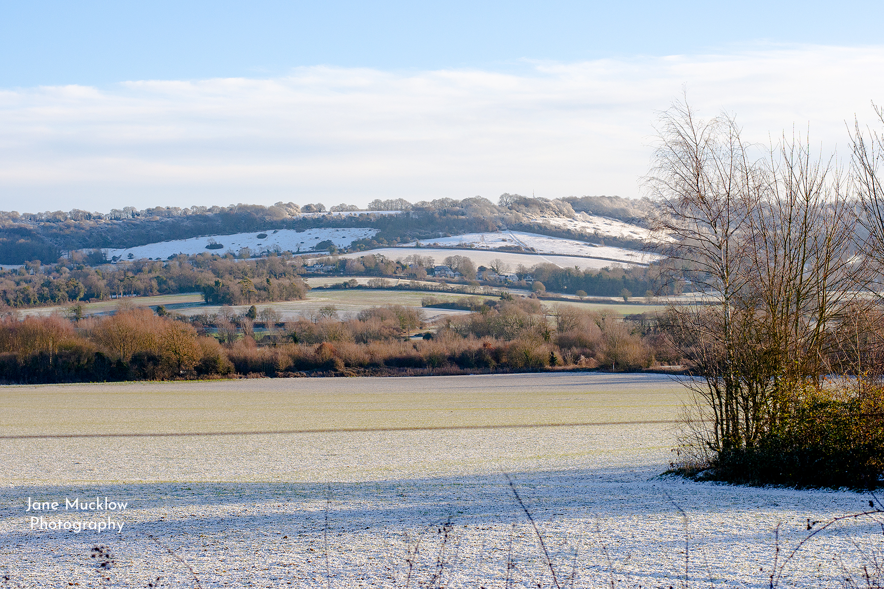 Photo by Jane Mucklow of frosty and snowy view across Otford to Otford Mount