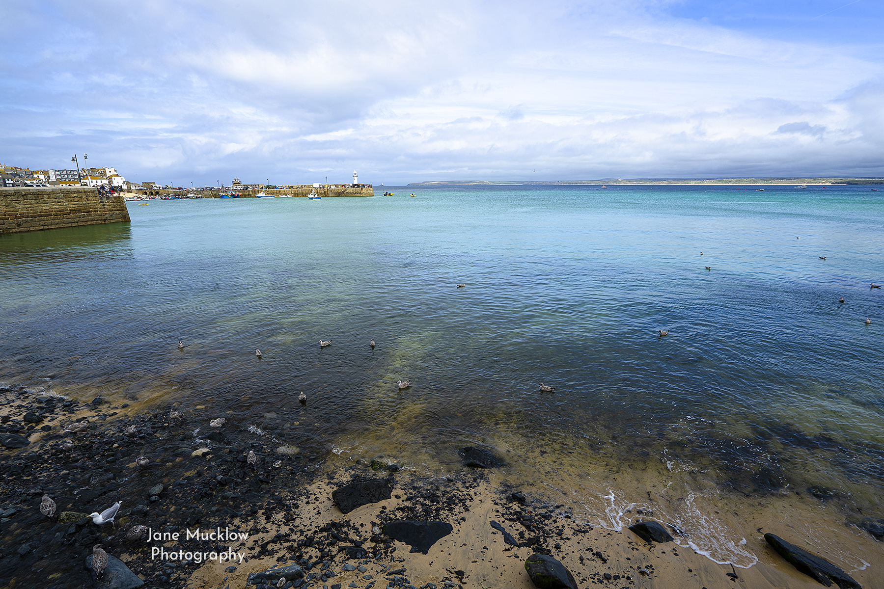 Photo by Jane Mucklow of the bay of St. Ives, looking up towards Godrevy and the north Cornwall coast