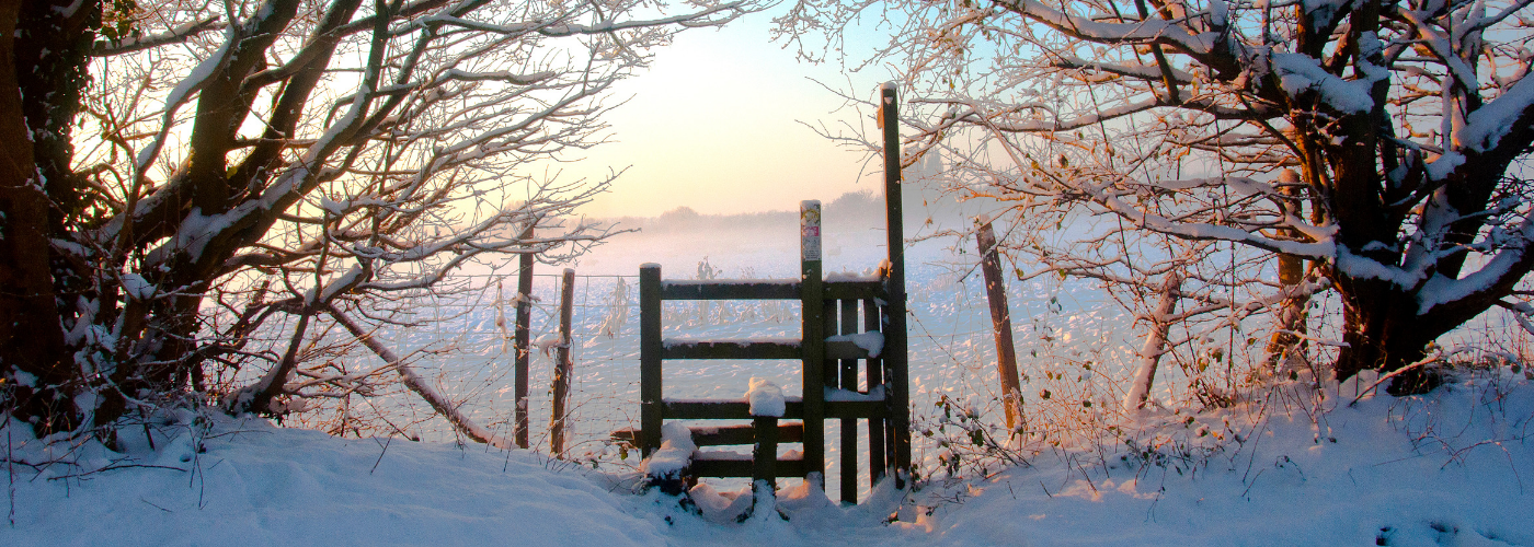 Photo by Jane Mucklow of a style in the snow at sunrise, Otford, Kent