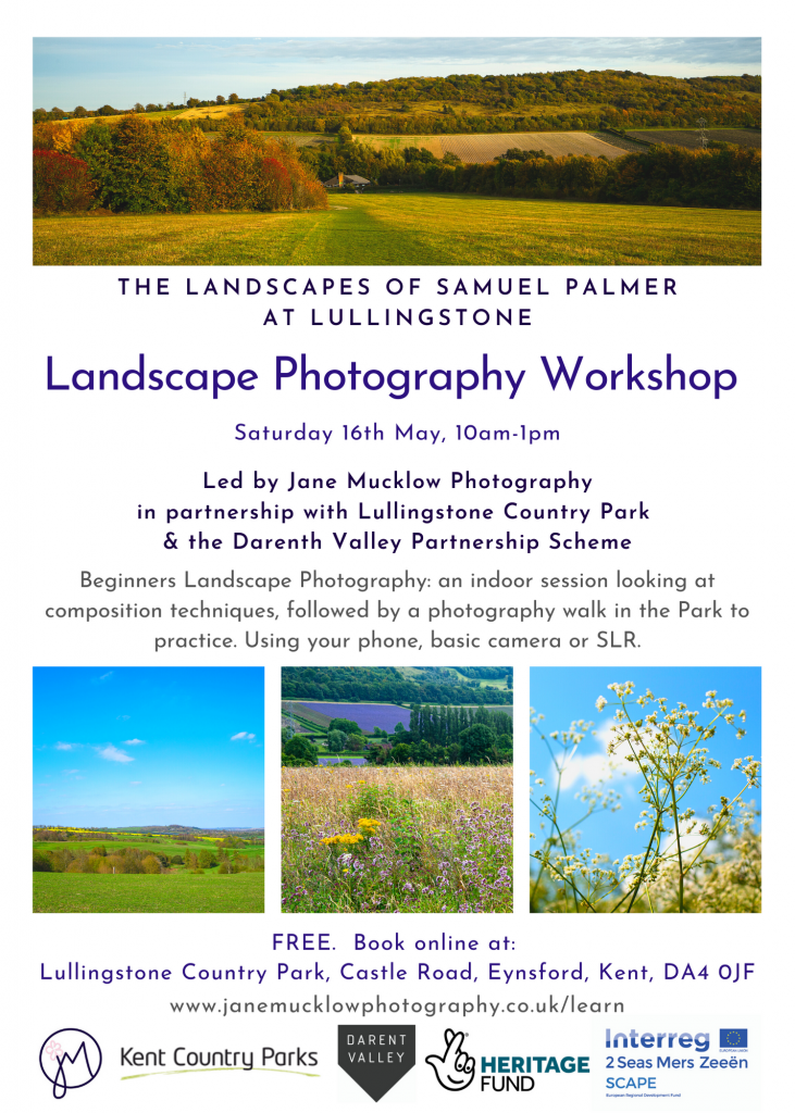 Flier for Landscape Photography workshop at Lullingstone Country Park by Jane Mucklow Photography