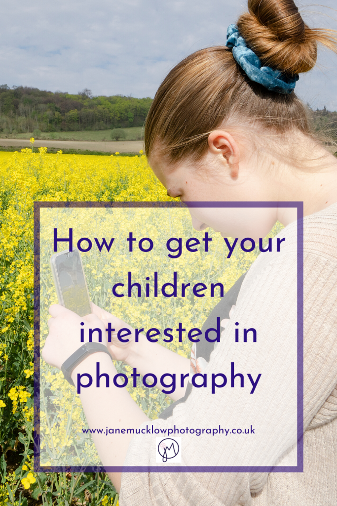 Photo of a girl taking a photo on her mobile, image for blog by Jane Mucklow on how to get your children interested in photography